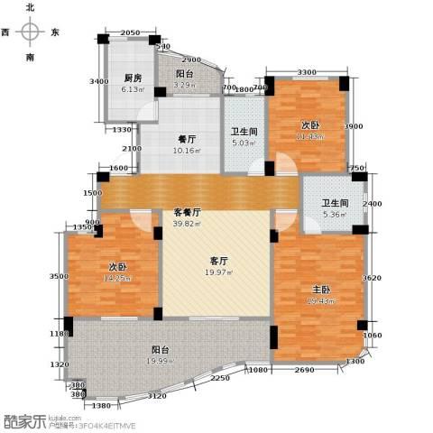 丁香花园3室1厅2卫1厨138.00㎡户型图