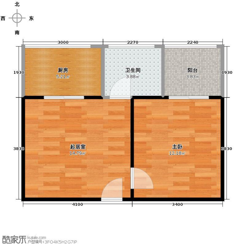 安诚御花苑49.44㎡B6-2-B户型1室1厅1卫