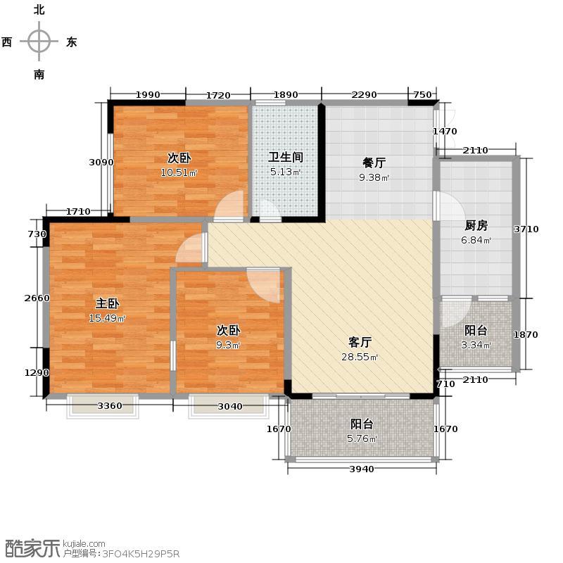 斌鑫西城绿锦93.42㎡户型10室