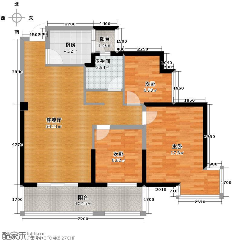 霏红榭99.35㎡一期5、6、9、10号楼奇数层B3户型10室