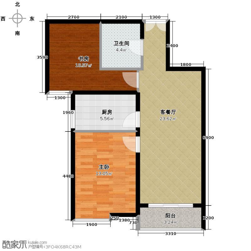 富民河畔家园83.27㎡标准层B户型2室2厅1卫