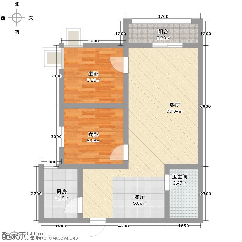 阳光新地83.93㎡C户型2室2厅1卫