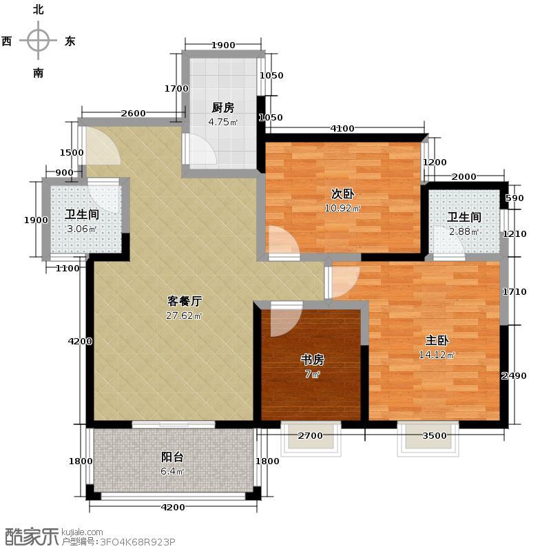 锦里102.19㎡C户型3室2厅2卫