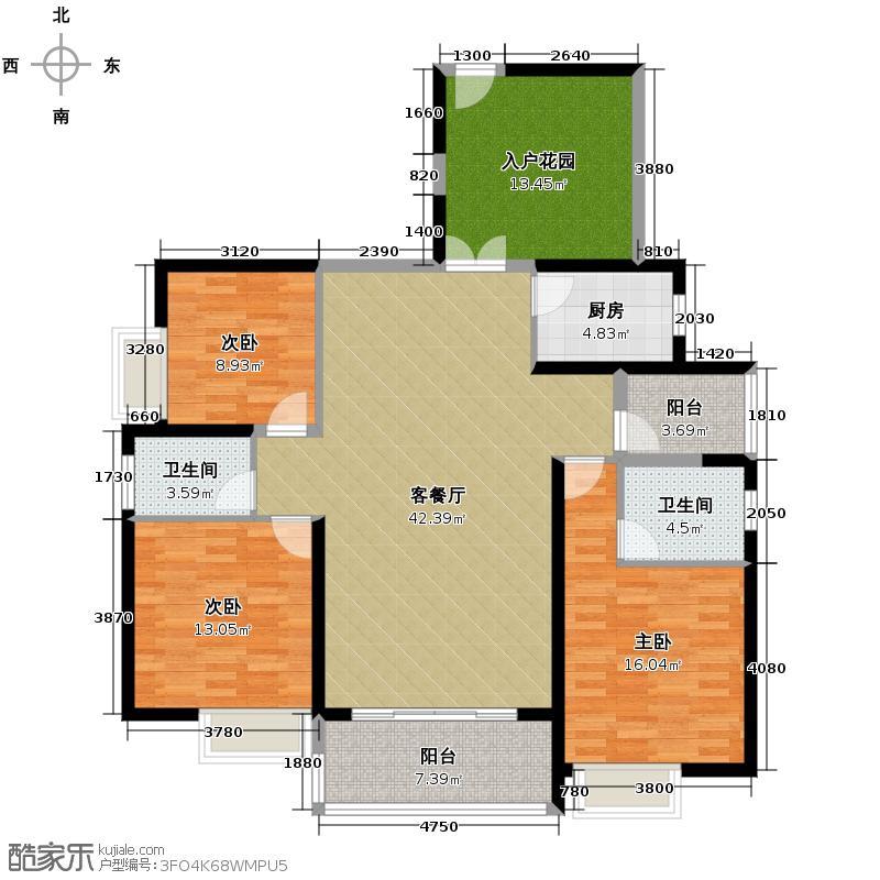 滨江一号148.56㎡6#楼1单元02偶数层三室户型3室1厅2卫1厨