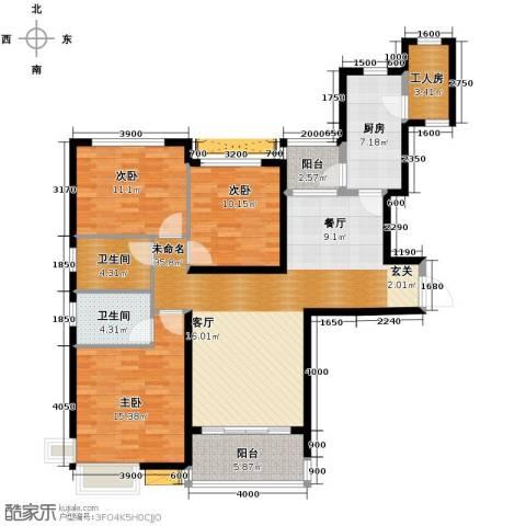 恒大御景湾3室2厅2卫0厨138.00㎡户型图