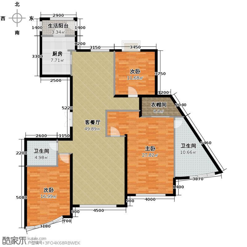 东湖湾190.62㎡户型3室2厅2卫