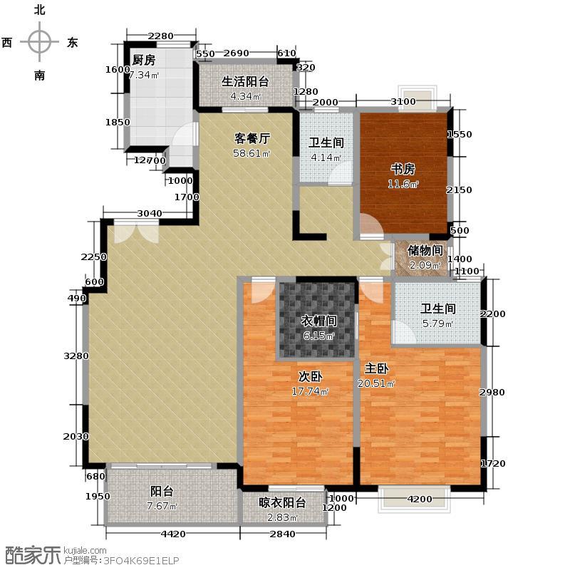 中国铁建梧桐苑168.00㎡在售A2南北三阳台33米餐厅户型3室2厅2卫