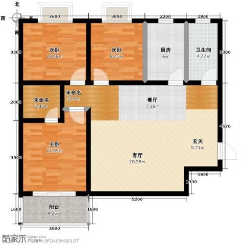 安诚御花苑3室2厅2卫0厨124.00㎡户型图