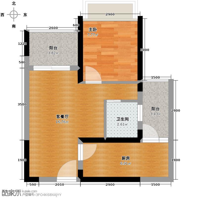 蓝光COCO金沙49.00㎡F3户型1室1厅1卫1厨