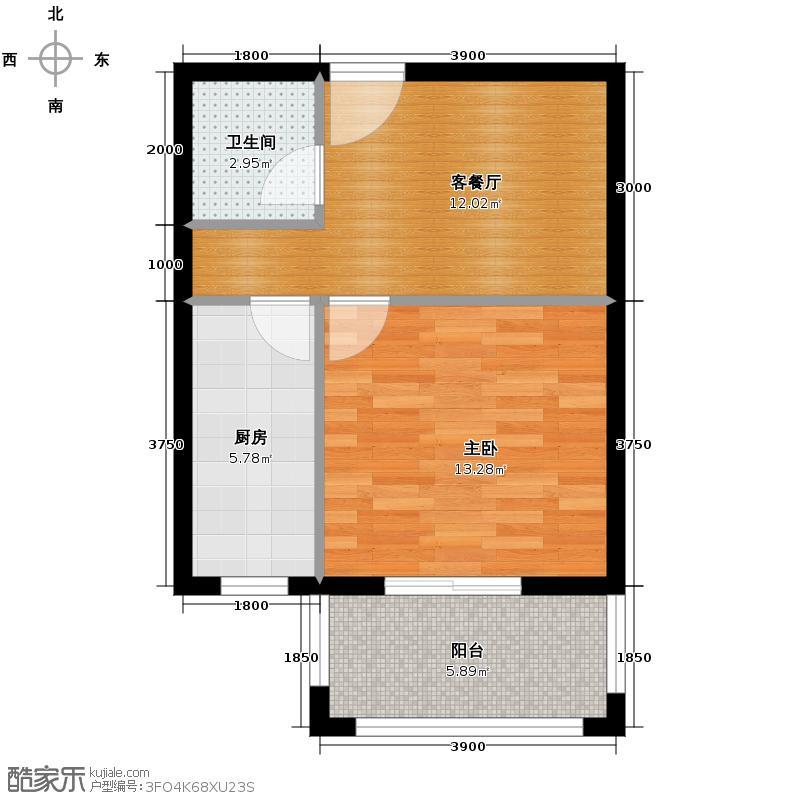 新一代北城国际63.00㎡A7户型1室1厅1卫1厨