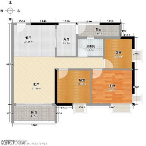 怡乐花园1室1厅1卫1厨75.18㎡户型图