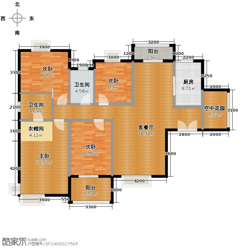紫薇曲江意境141.28㎡8#楼A-1户型10室