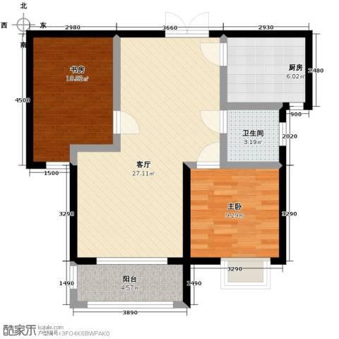 国仕山2室2厅1卫0厨90.00㎡户型图