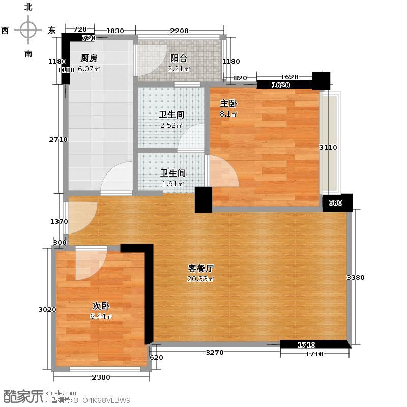 蓝光COCO金沙49.00㎡A3户型2室1厅1卫1厨