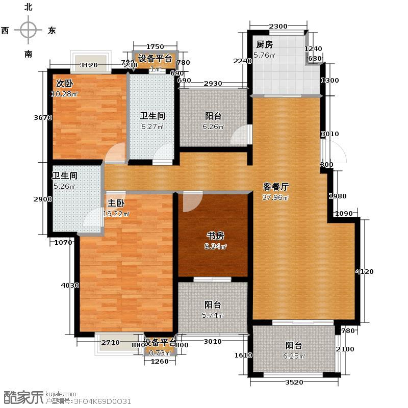 同景国际城馥山105.81㎡C-3F双卫多功能室户型2室2厅2卫