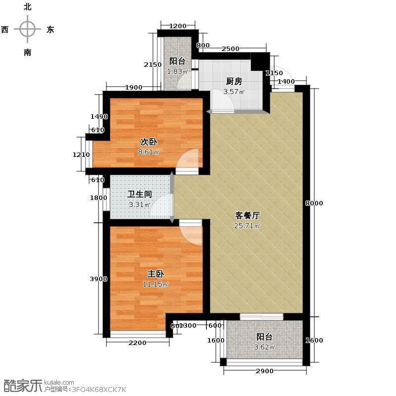清江山水81.00㎡31期C户型2室2厅1卫