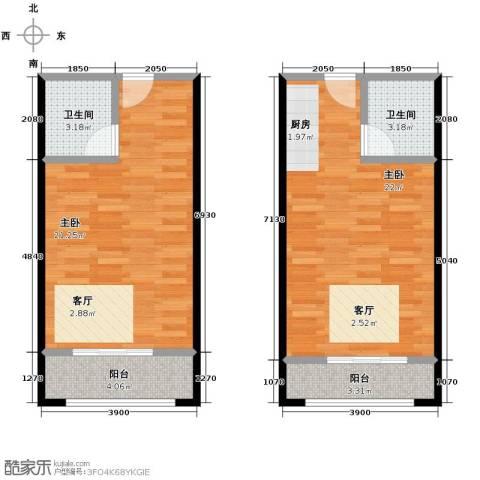 花漾年华2室0厅2卫0厨56.98㎡户型图
