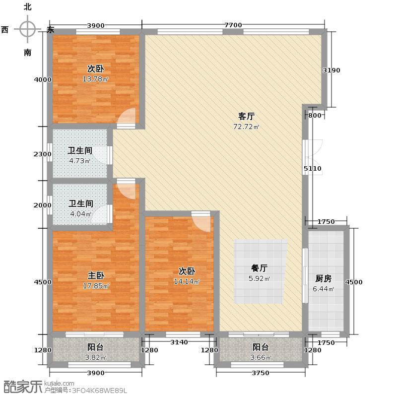 富贾花园222.00㎡A/B户型3室2厅2卫