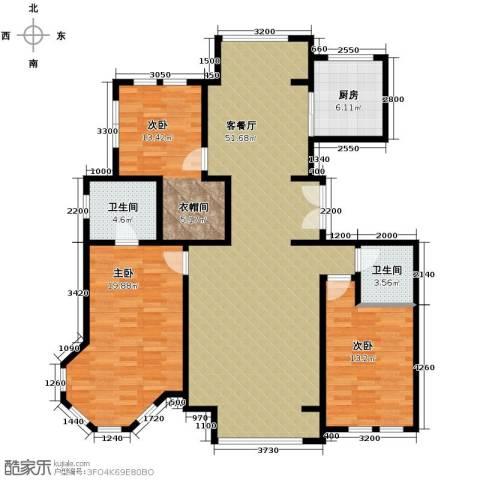 领秀・翡翠山3室2厅2卫0厨159.00㎡户型图