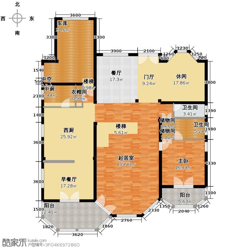 香榭湾567.00㎡F型一层户型10室