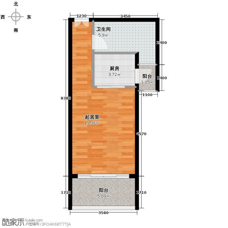 兆麟锦桦豪庭45.00㎡I户型1室1厅1卫