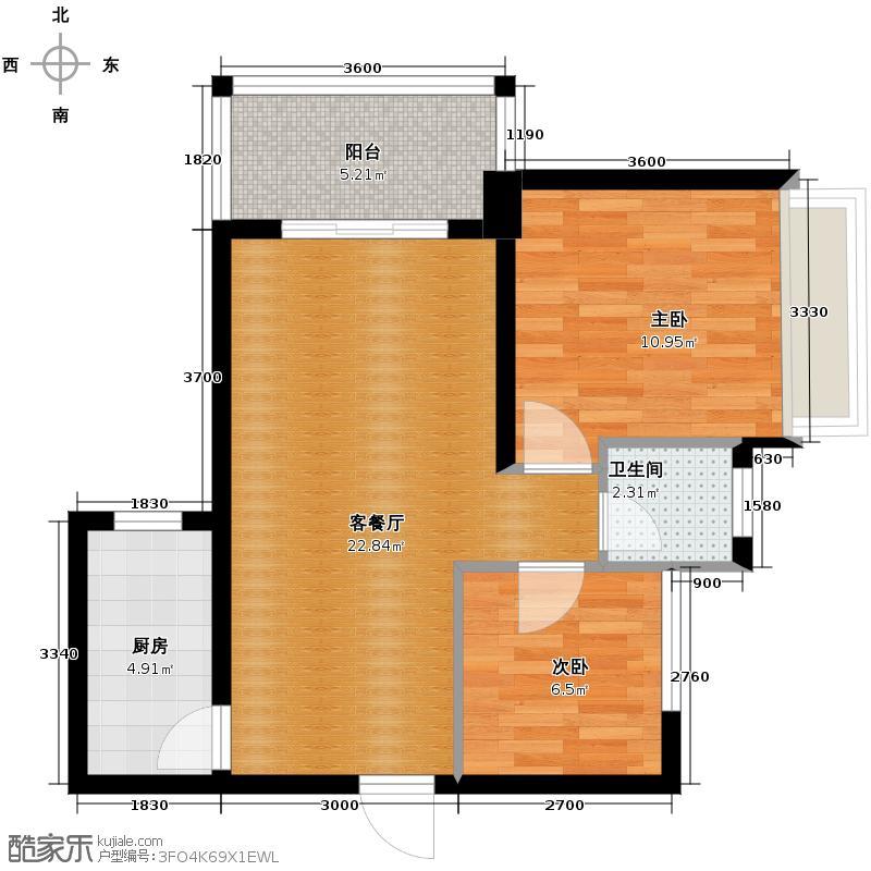 福乐香江锦城73.00㎡1/2栋-02大飘窗户型2室2厅1卫