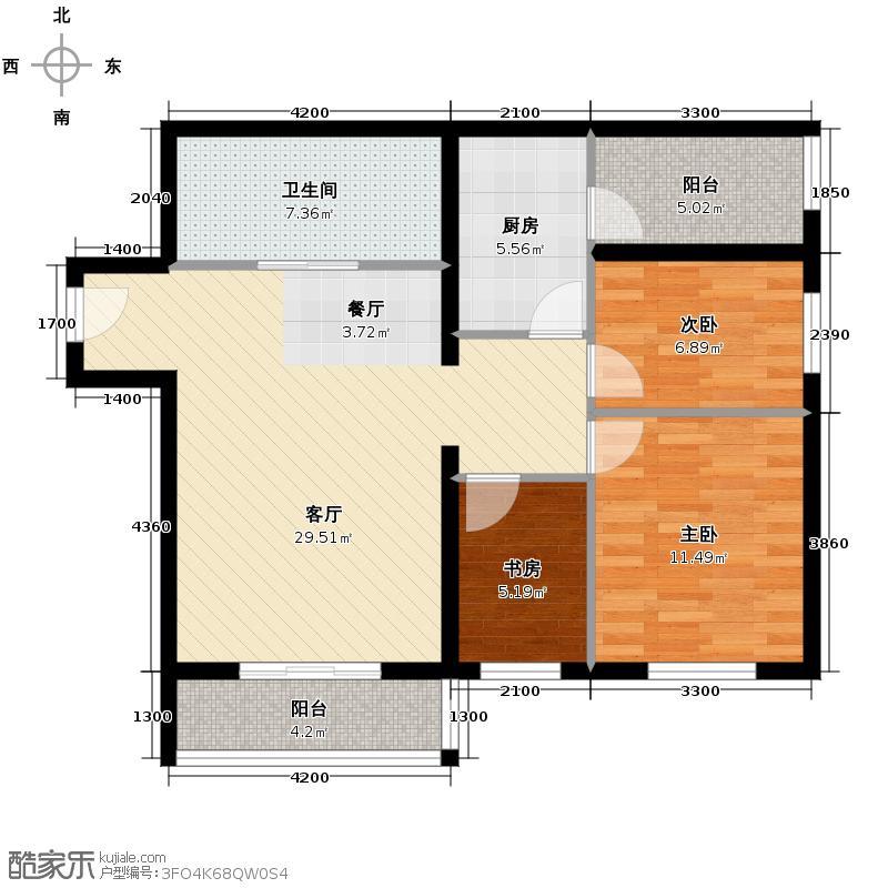 花漾年华95.00㎡C户型3室1厅1卫1厨