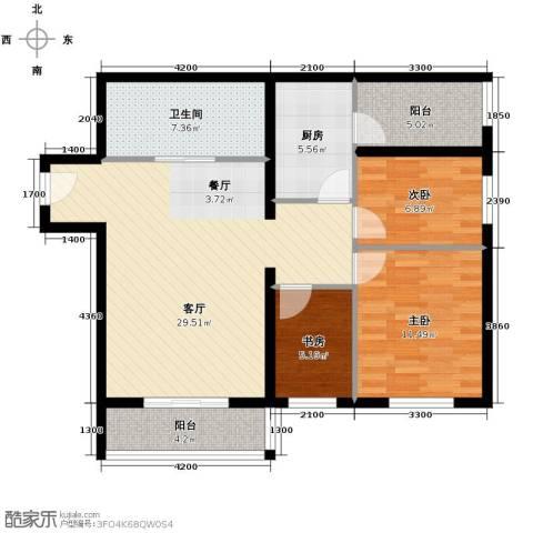 花漾年华3室1厅1卫1厨95.00㎡户型图