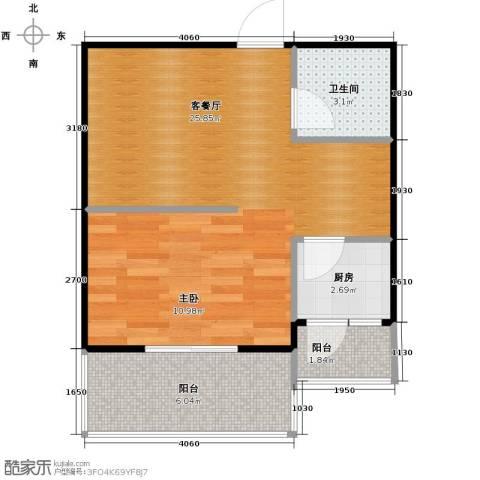 捷瑞新时代1厅1卫1厨54.00㎡户型图