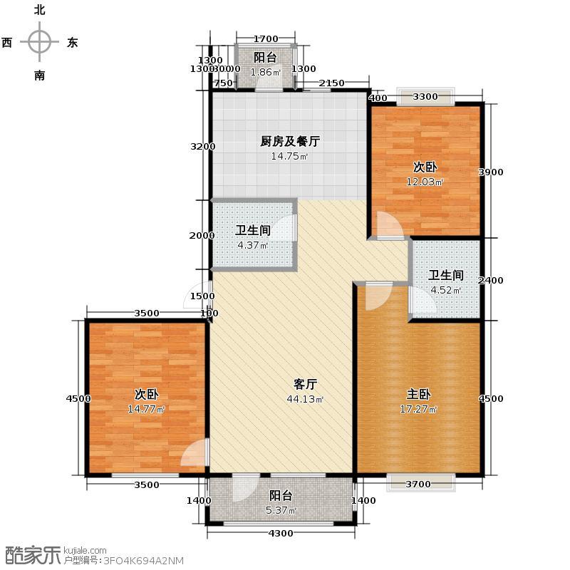 新发翡翠花溪126.00㎡高层蒙特奇诺G2户型3室2厅2卫