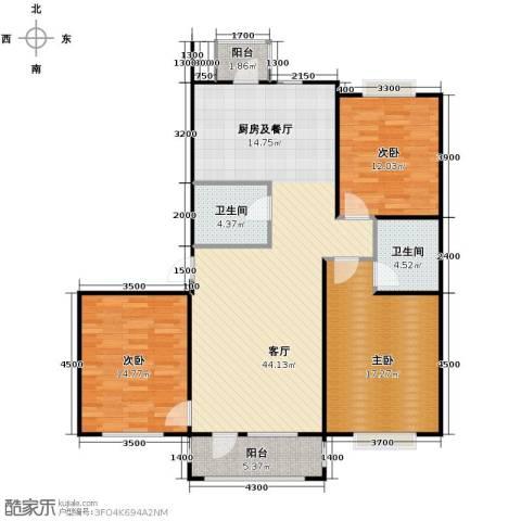 新发翡翠花溪3室2厅2卫0厨126.00㎡户型图
