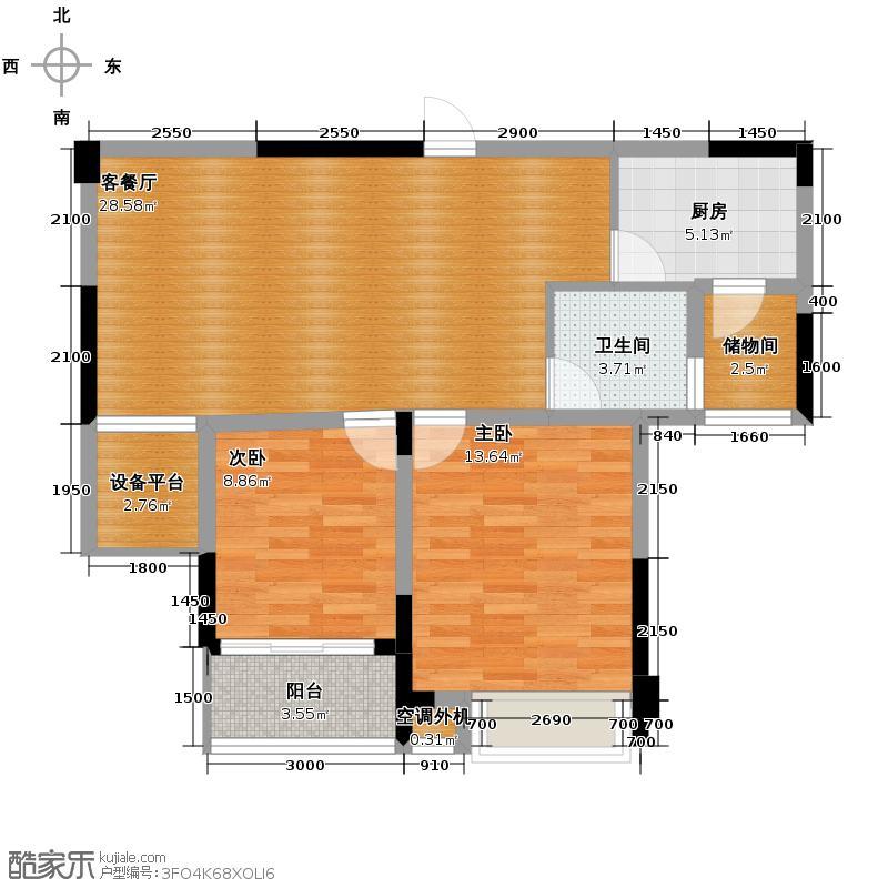 加州香山美树89.00㎡D2户型2室1厅1卫1厨