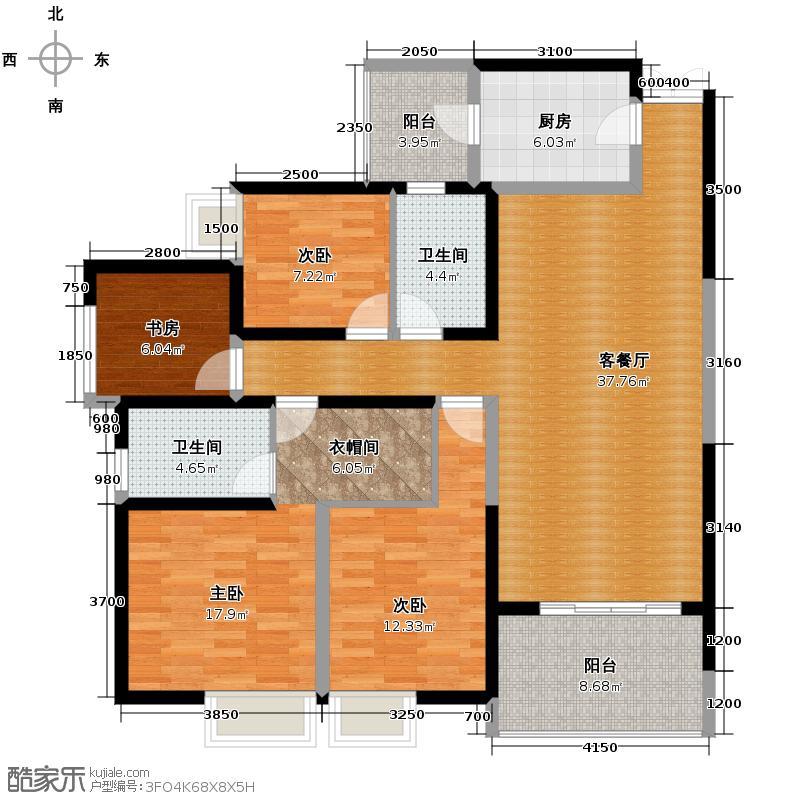 长嘉汇134.00㎡11号楼6号房户型4室2厅2卫