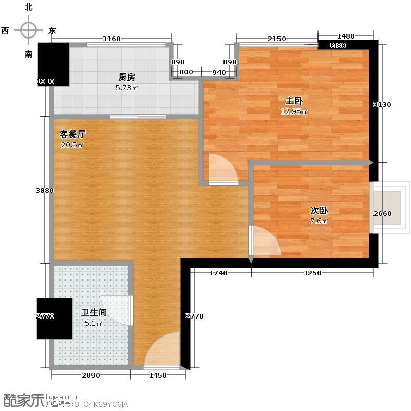 高新水晶城73.53㎡C-1户型2室1厅1卫1厨