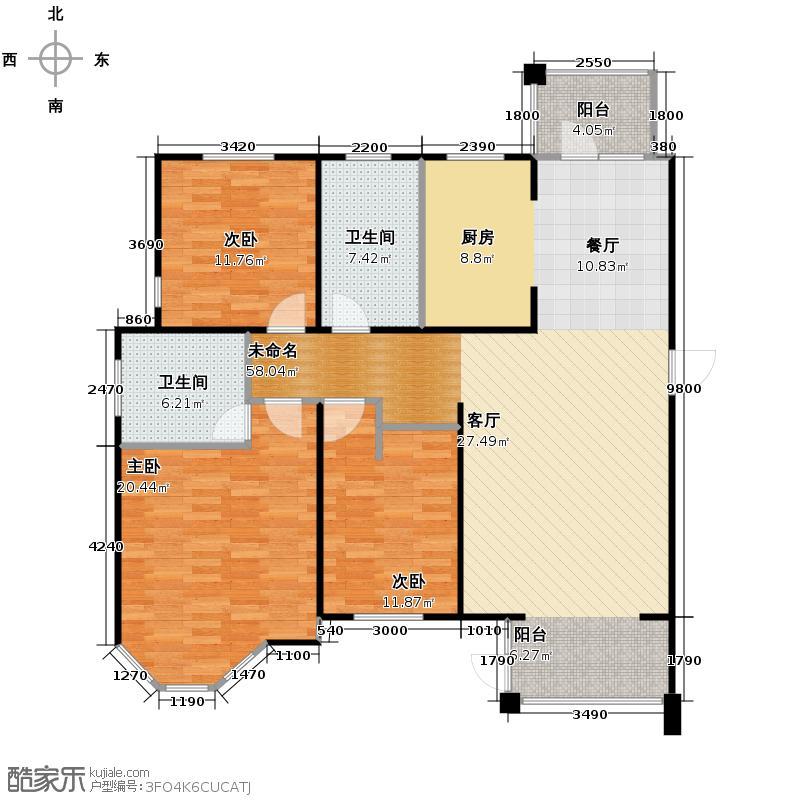 上院135.01㎡27F户型3室2厅2卫