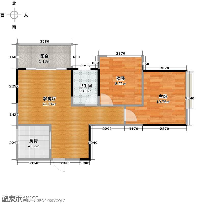 盛天国际58.92㎡户型2室1厅1卫1厨