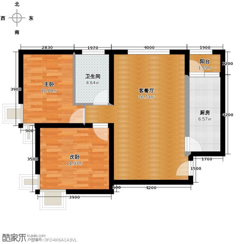 北京奥林匹克花园80.91㎡B1边2户型2室2厅1卫