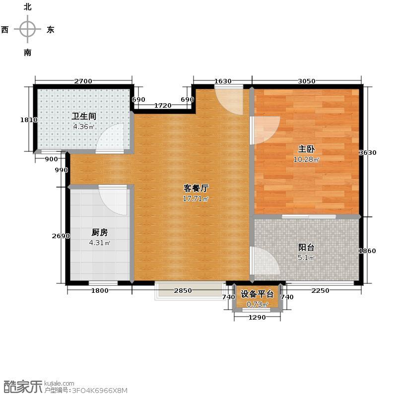 嘉楠美地46.40㎡一期一批次1、2号楼C3户型1室2厅1卫