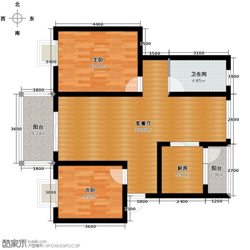 润雅宜园86.01㎡2011年1月一期一批1次六栋e户型2室2厅1卫