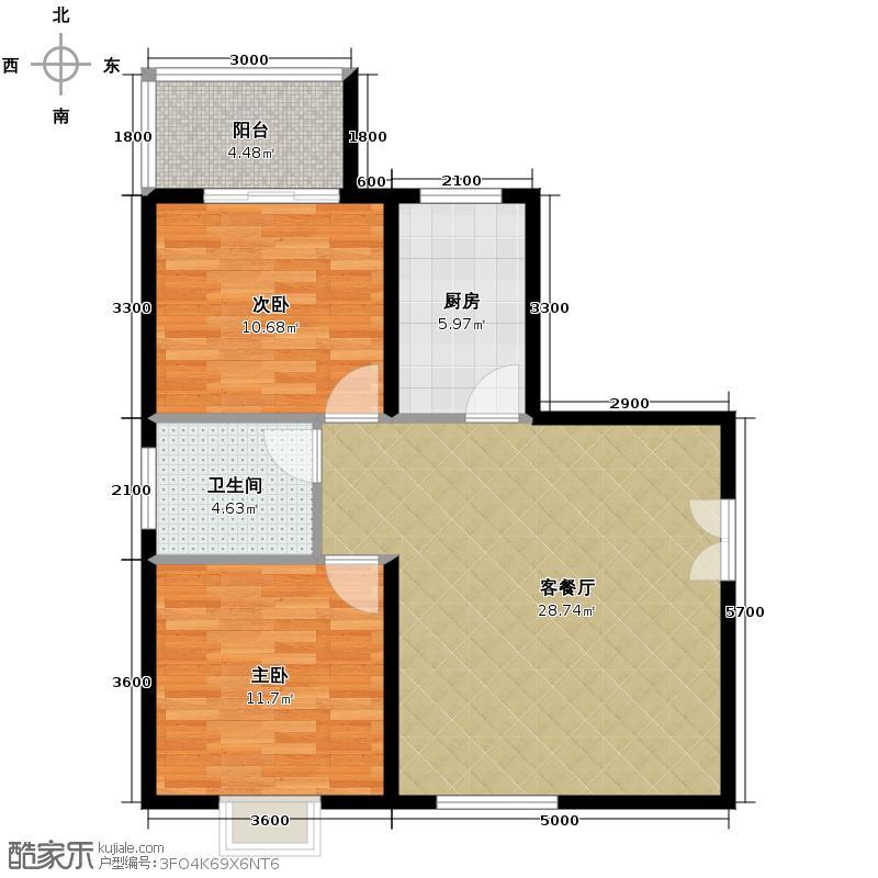 上林沣苑92.96㎡城市逸品户型2室2厅1卫