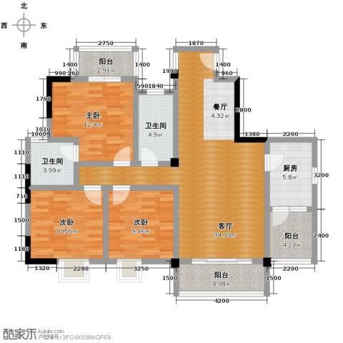 山水华景3室1厅2卫1厨138.00㎡户型图