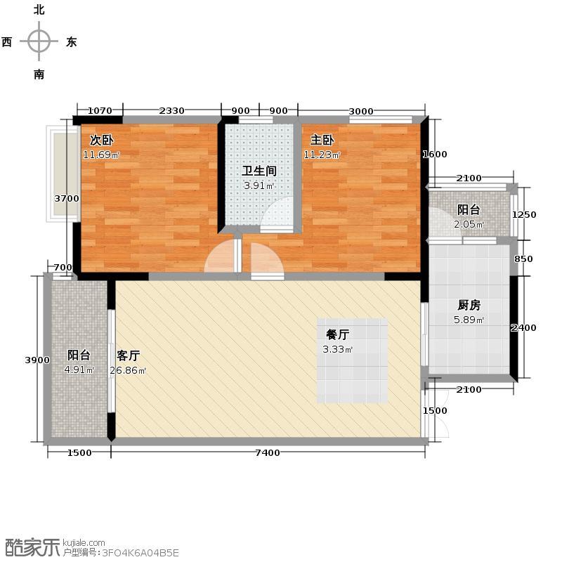 恒基翔龙江畔72.00㎡户型2室2厅1卫
