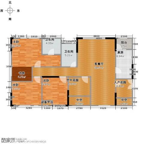 北城国际中心3室1厅2卫1厨157.00㎡户型图