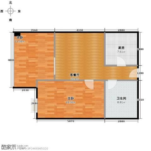 昆仑中心2室1厅1卫0厨80.00㎡户型图