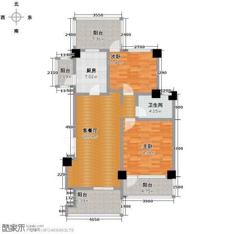 当代安普顿小镇2室2厅1卫0厨85.00㎡户型图