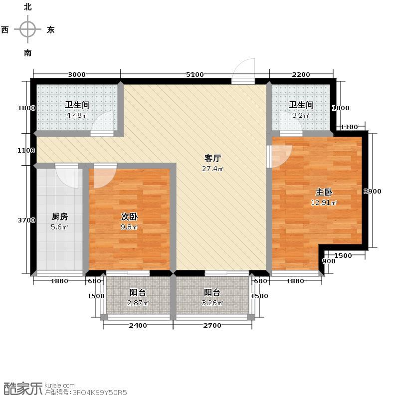 明林庭苑97.93㎡E户型2室2厅2卫