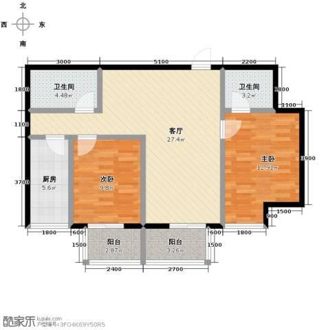 明林庭苑2室2厅2卫0厨98.00㎡户型图