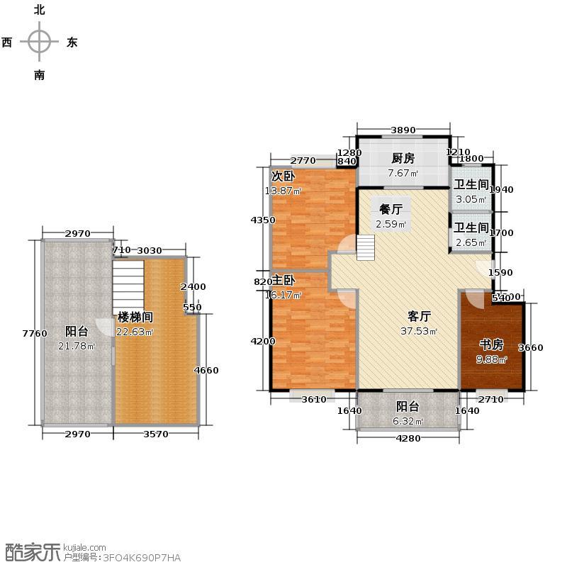 天鹅湖150.47㎡B2复式号户型4室2厅1卫