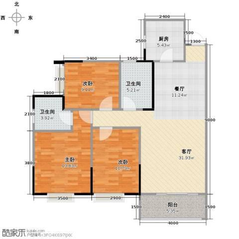 兰亭熙园3室1厅2卫1厨110.00㎡户型图