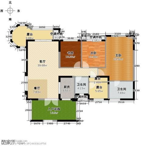 龙湖花千树3室1厅2卫1厨197.00㎡户型图